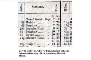 Mumbai-Baroda-First-Timetable