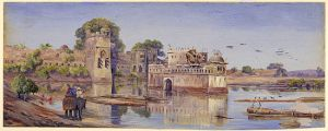 Oil_painting_of_Padmini's_palace_in_the_fort_in_the_midst_of_the_tank